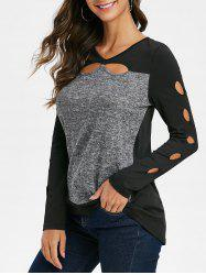 Cutout Spliced Long Sleeves Asymmetrical T Shirt -
