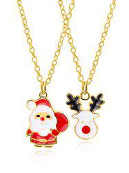 2Pcs Christmas Elk Santa Claus Necklace Set -