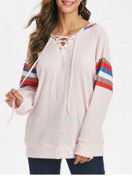 Lace Up Striped Drop Shoulder Hoodie -