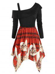 Cold Shoulder Cat Elk Snowflake Printed Christmas Plus Size Dress -