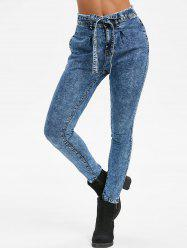 Knotted Frayed Snow Wash Pockets Jeans -