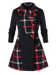 Plus Size Plaid Splicing Manteau boutonnage simple -