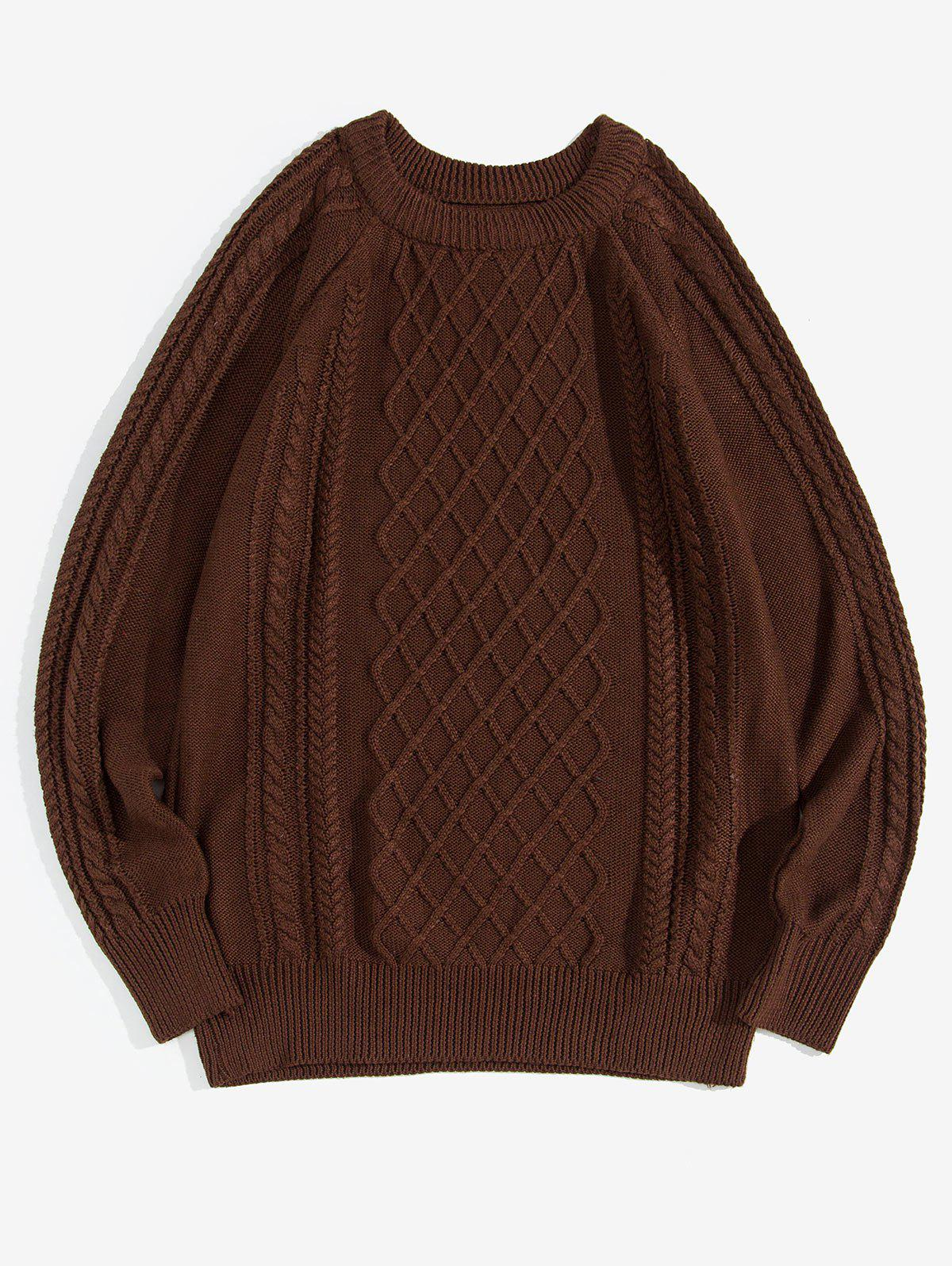 Cheap Solid Color Cable Knit Pullover Sweater