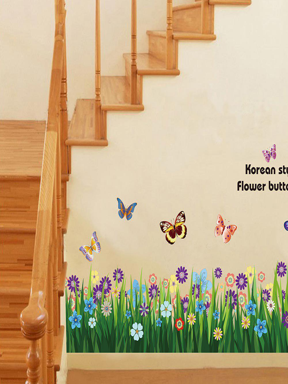 Trendy Flowers Grass Butterfly Print Removable Wall Art Stickers