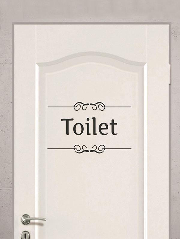 Cheap Letter Toilet Print Removable Door Stickers Wall Stickers