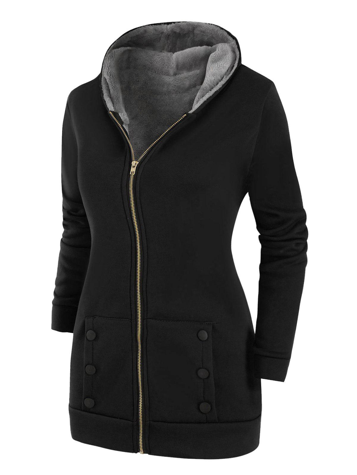 Shop Buttoned Hooded Faux Fur Lined Zip Front Plus Size Coat