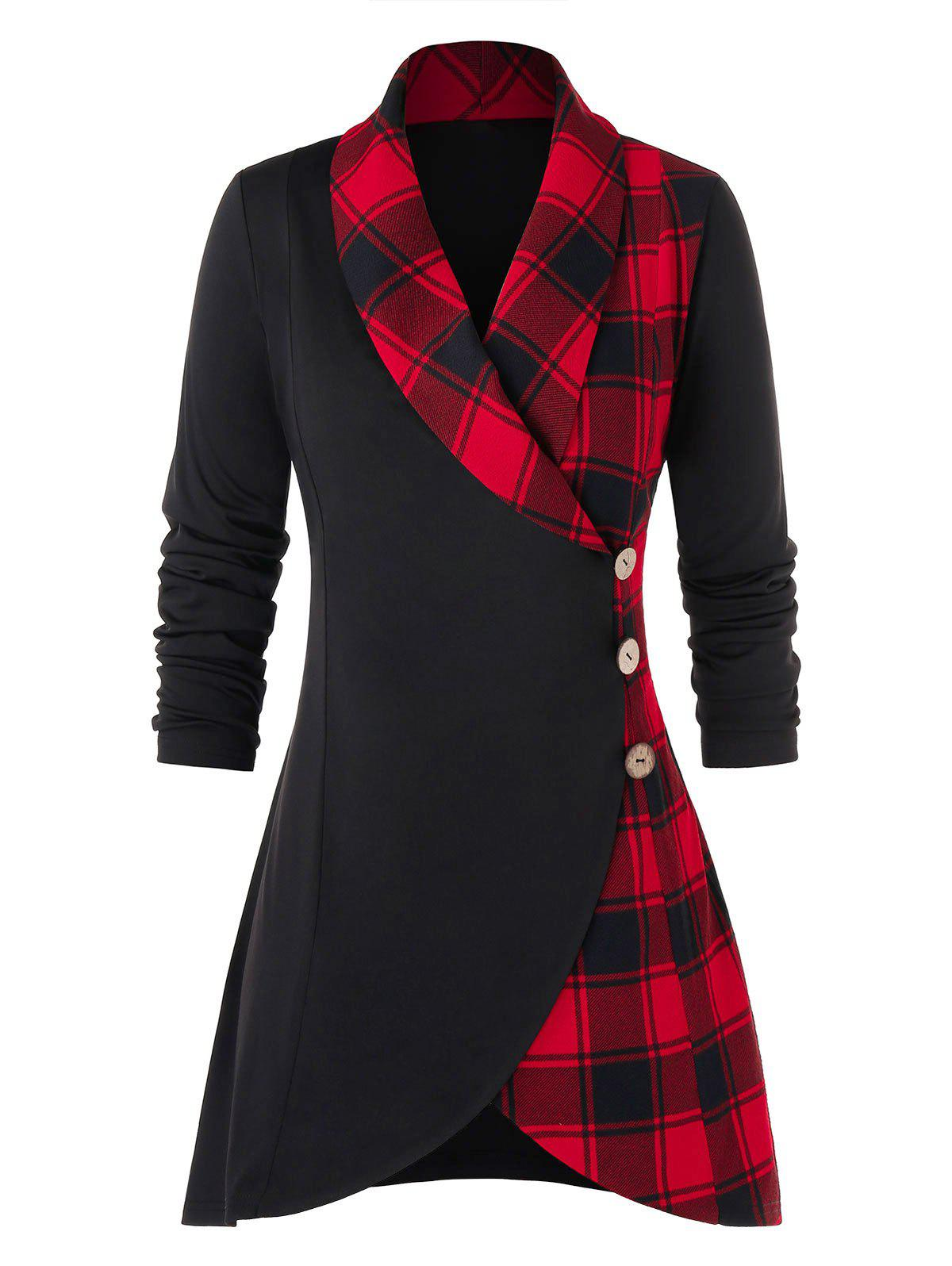 Outfit Plus Size Plaid Buttons Shawl Collar Coat