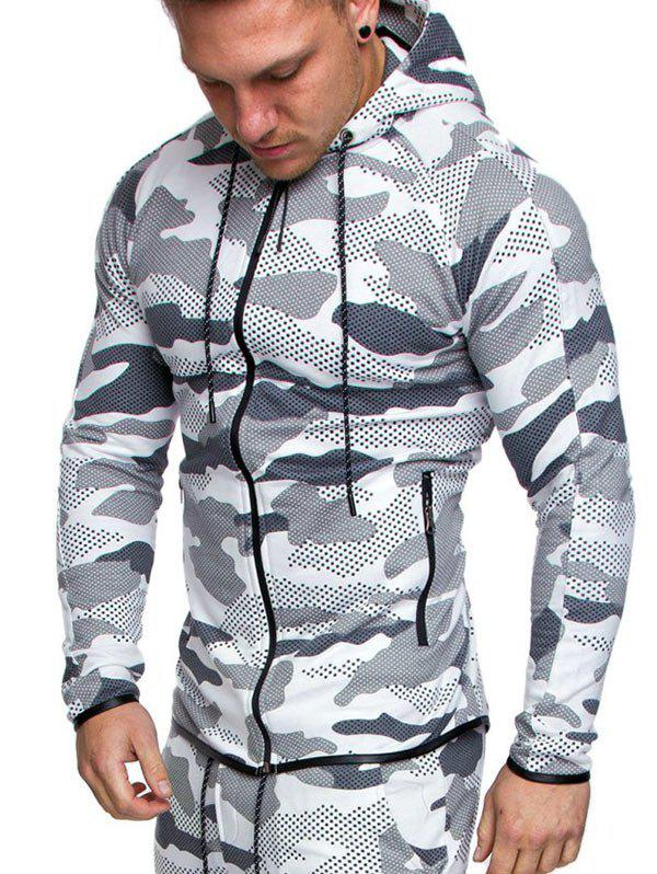 Shop Camo Print Zip Up Hoodie
