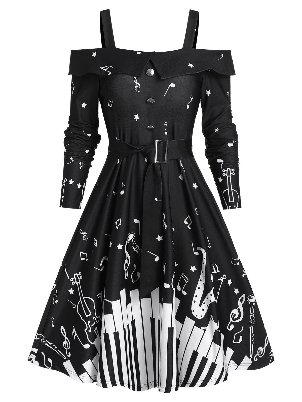 Unique Music Note Print Belted Cold Shoulder A Line Dress