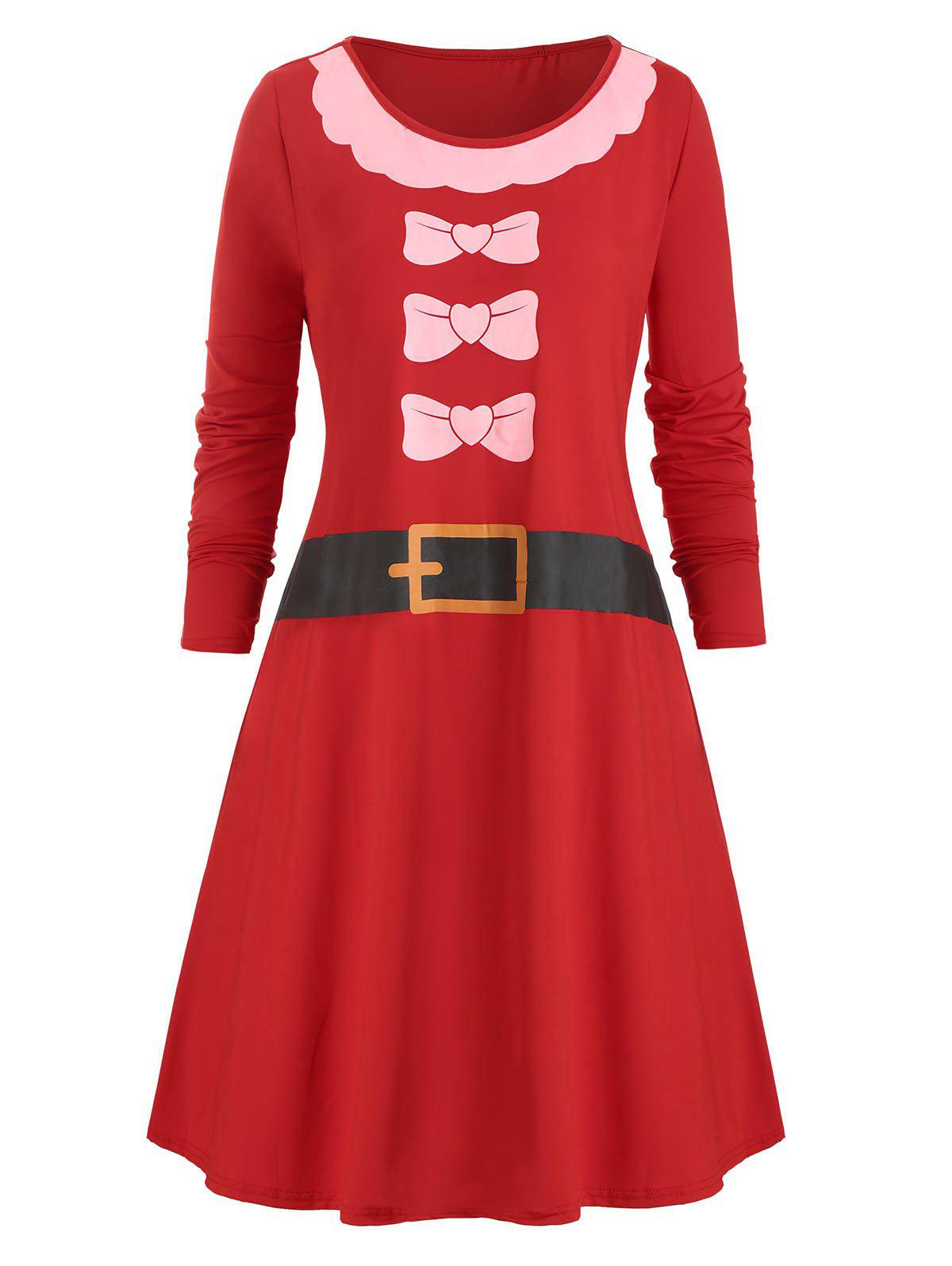 Outfit Bowknot Belt Print Christmas Long Sleeves Dress