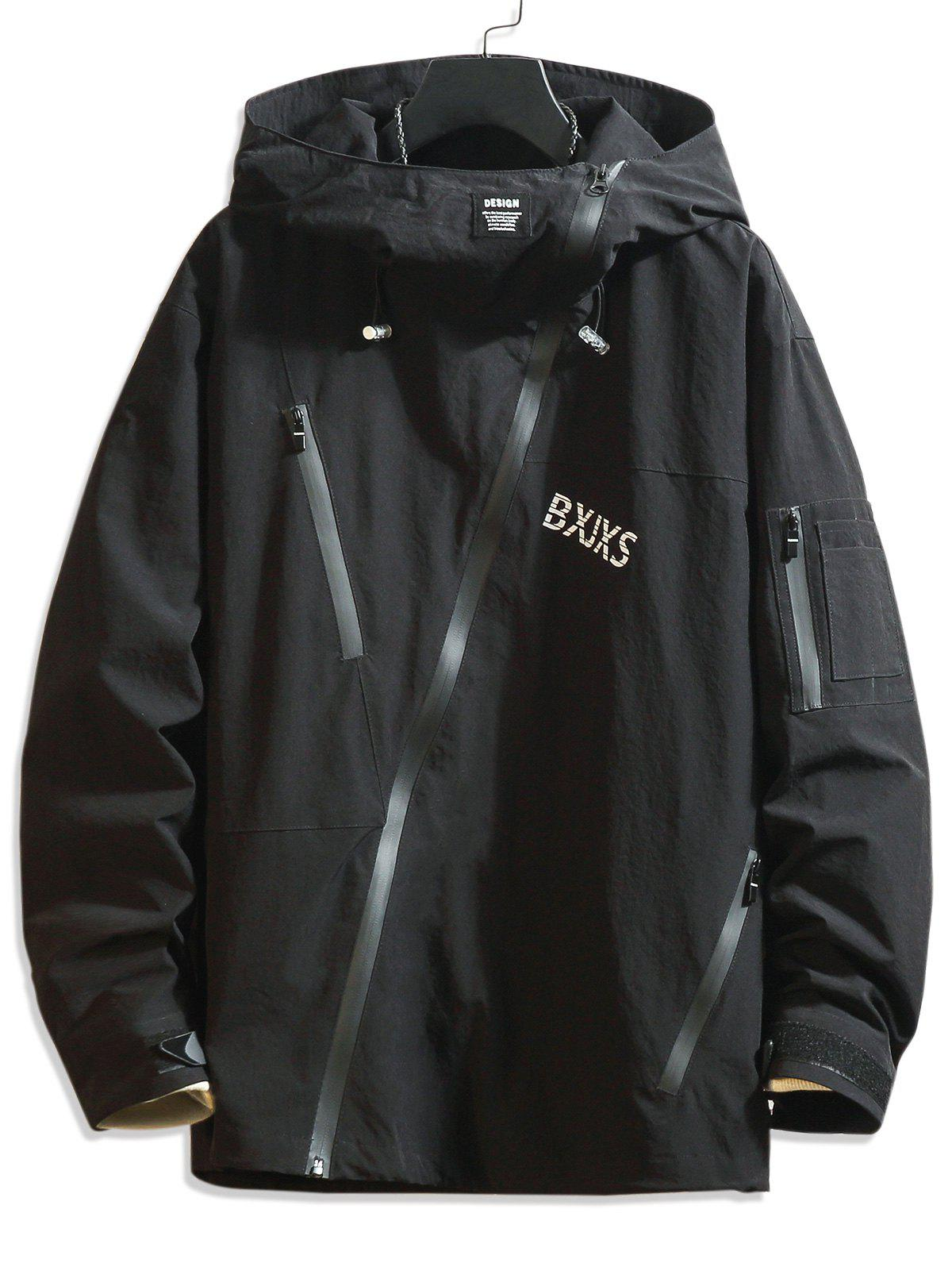 Affordable Front Asymmetric Zip Letter Graphic Hooded Jacket
