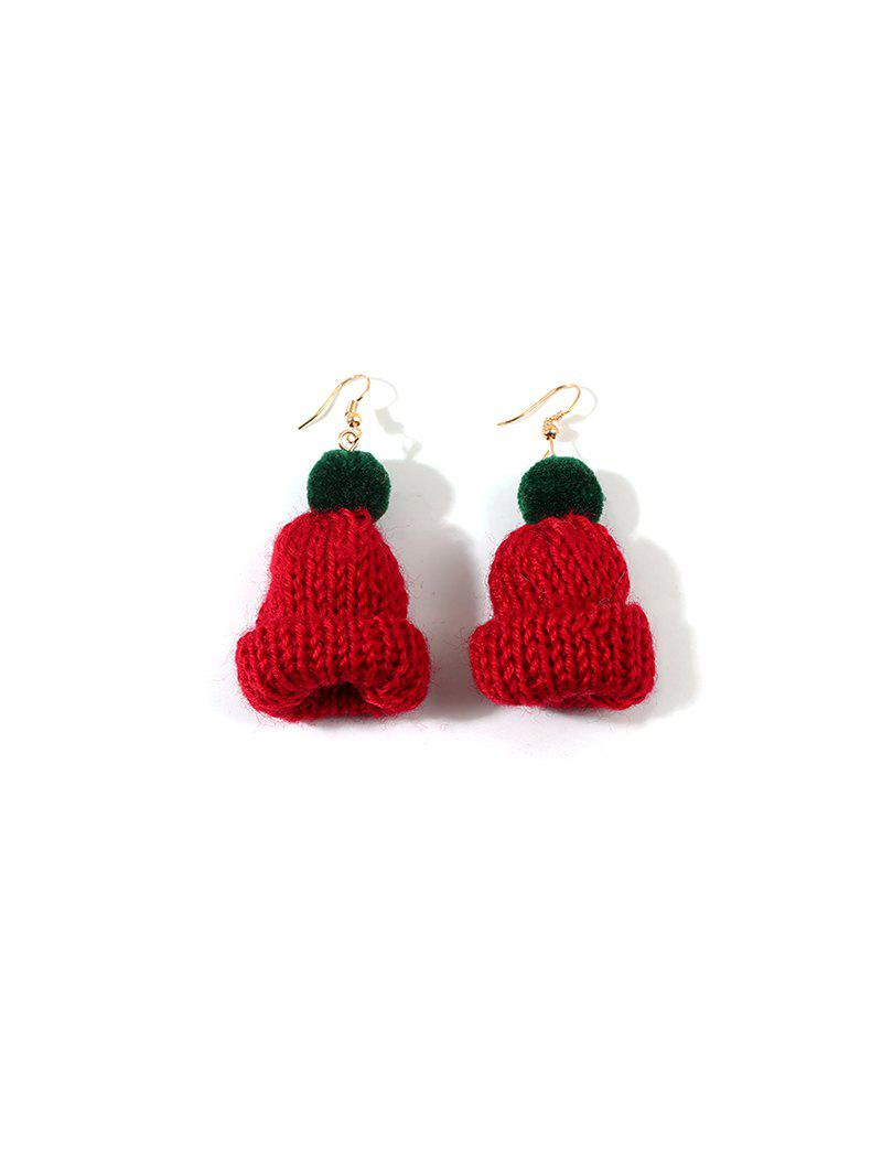 New Christmas Bobble Hat Knitted Drop Earrings