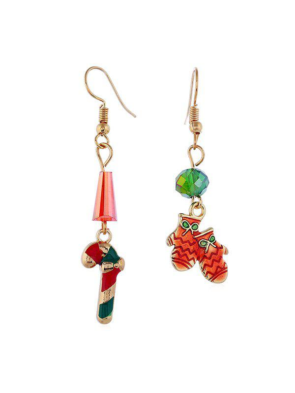 New Christmas Candy Gloves Asymmetric Earrings
