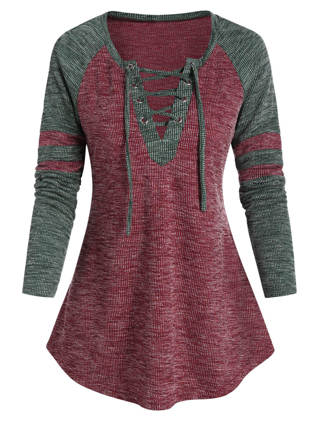 Outfits Raglan Sleeve Lace-up Curved Hem Contrast T-shirt
