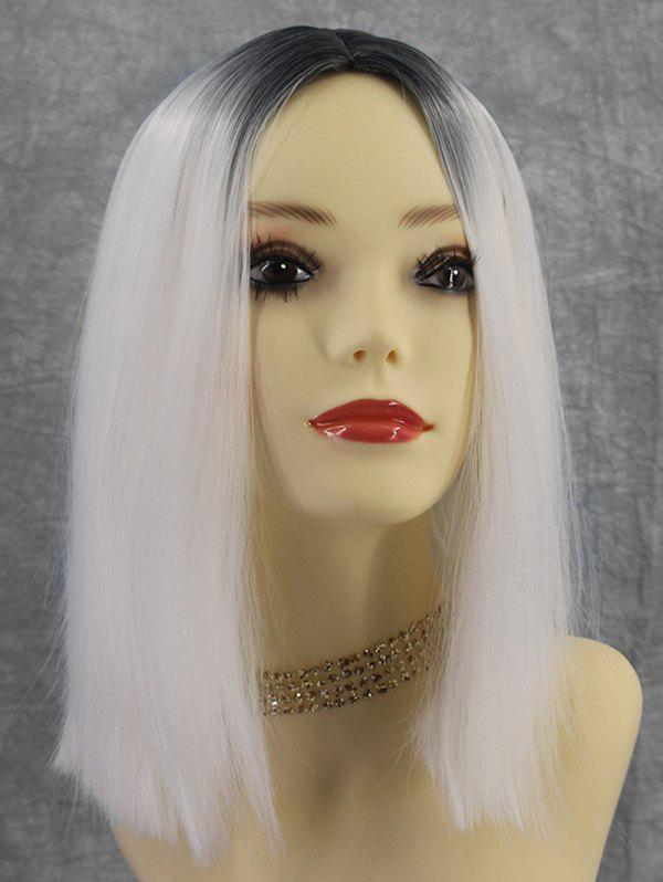 Chic Medium Center Part Straight Gradient Synthetic Wig