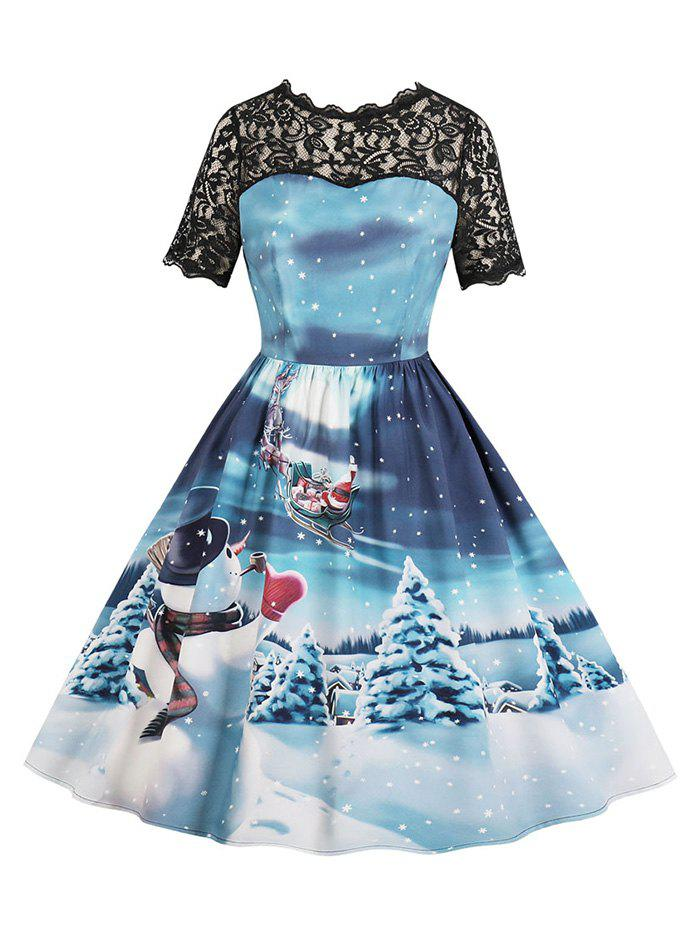 Unique Lace Panel Christmas Snowflake Snowman Santa Claus Plus Size Dress