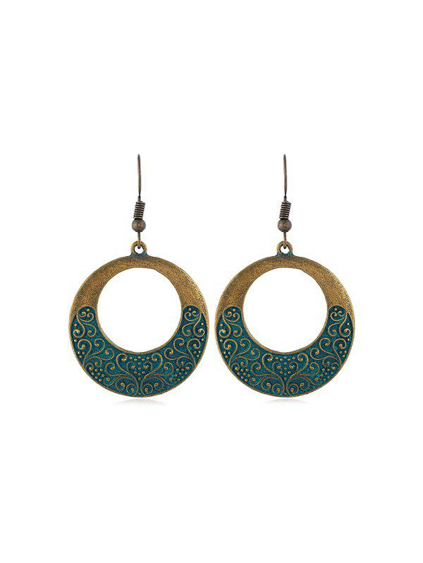 Buy Hollow Out Embossed Circle Hook Earrings