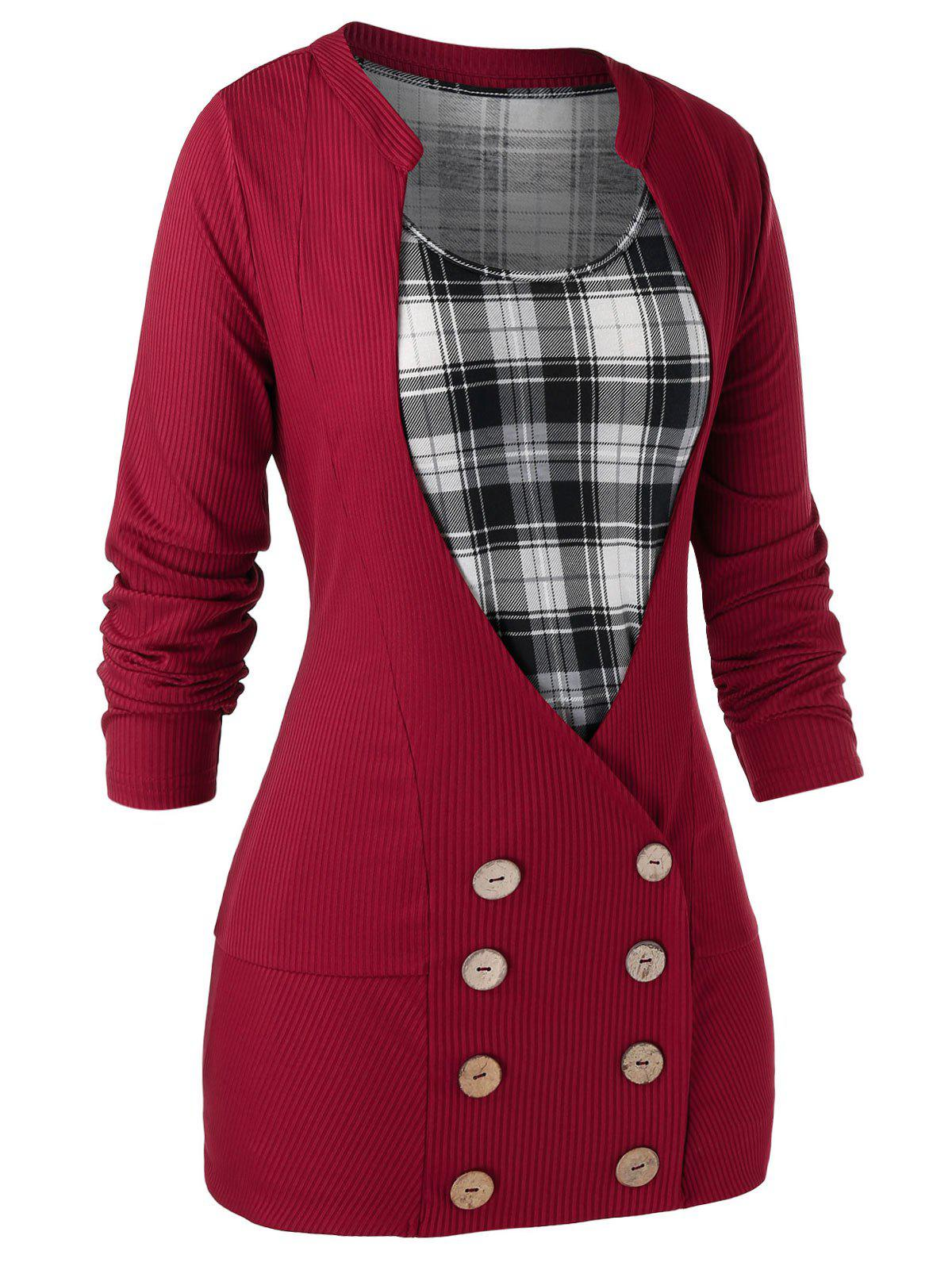 Buy Plus Size Buttons Cardigan With Plaid Tank Top Set