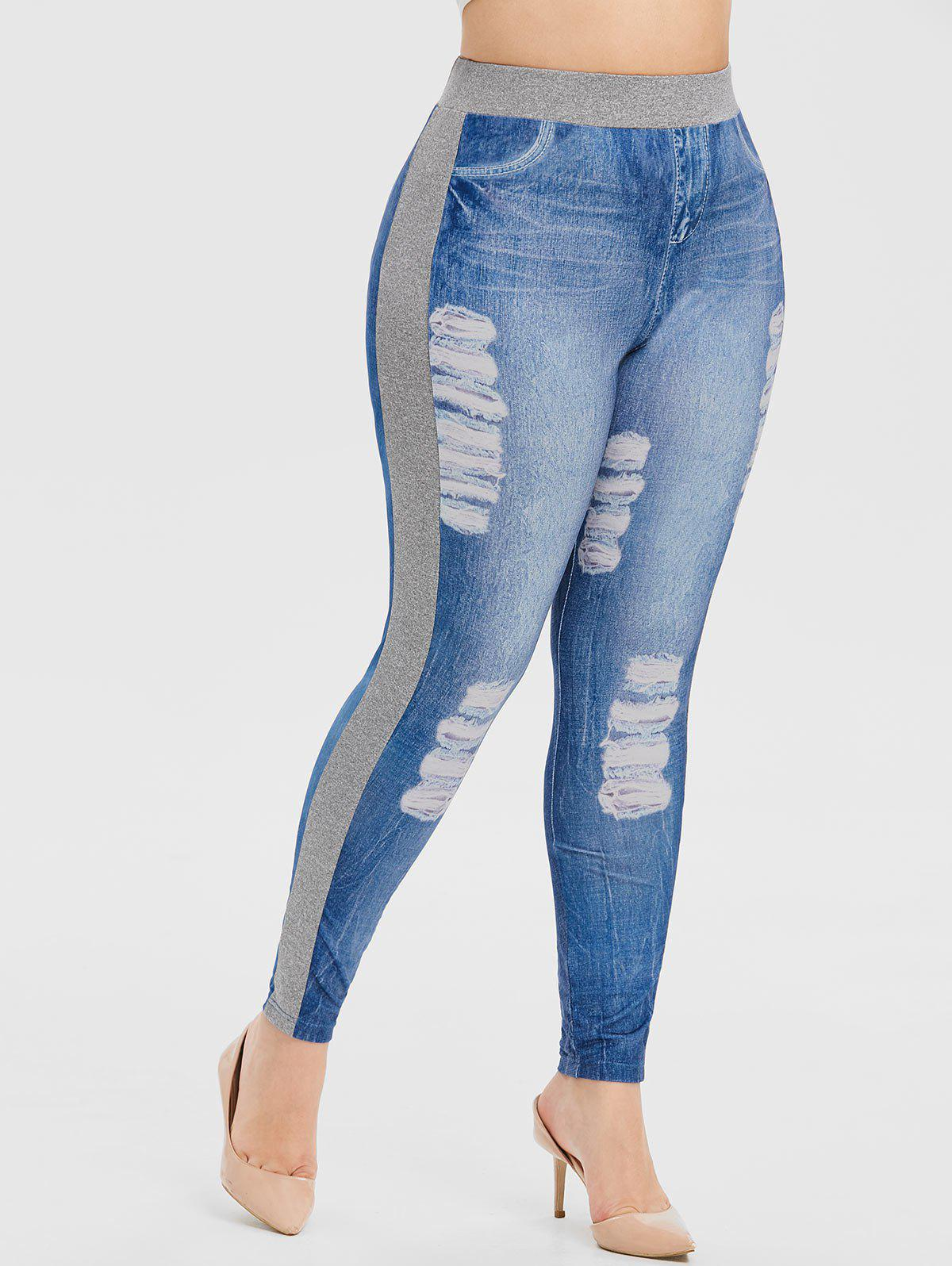 Plus Size 3D Ripped Imprimer taille haute jeggings