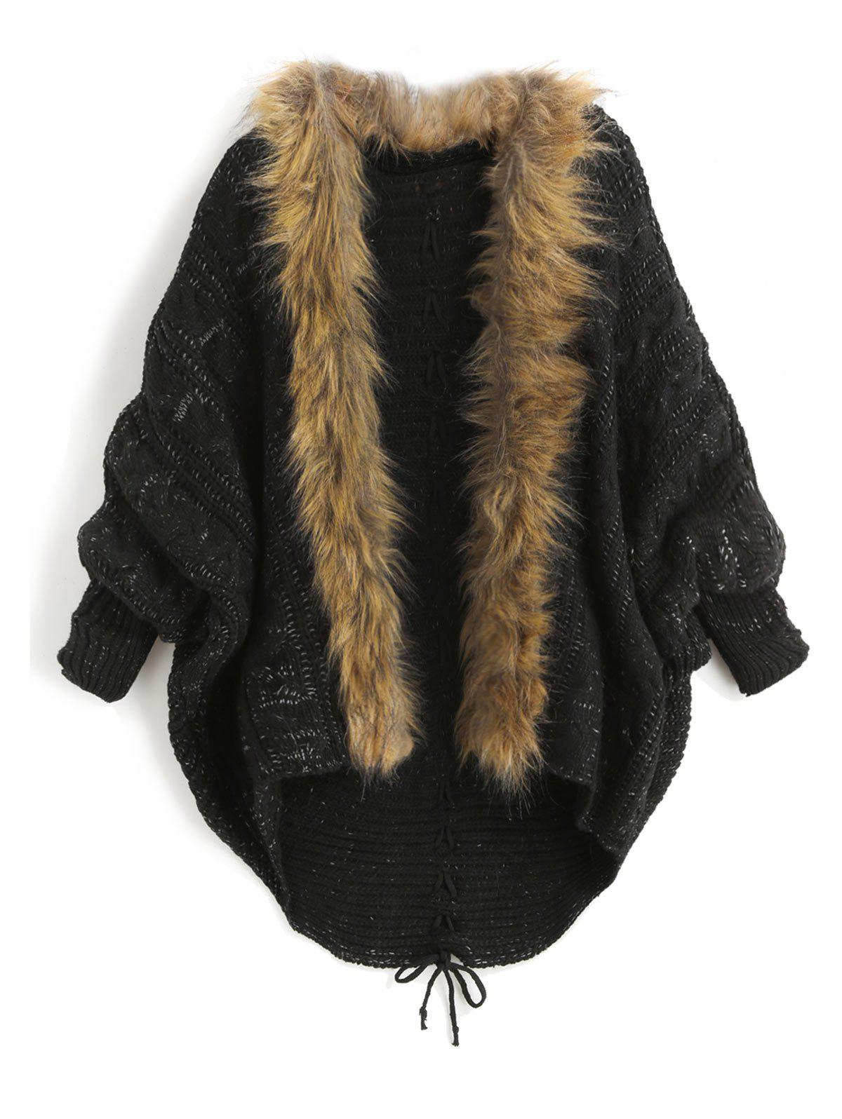 Discount Faux Fur Batwing Sleeve Open Front Cardigan
