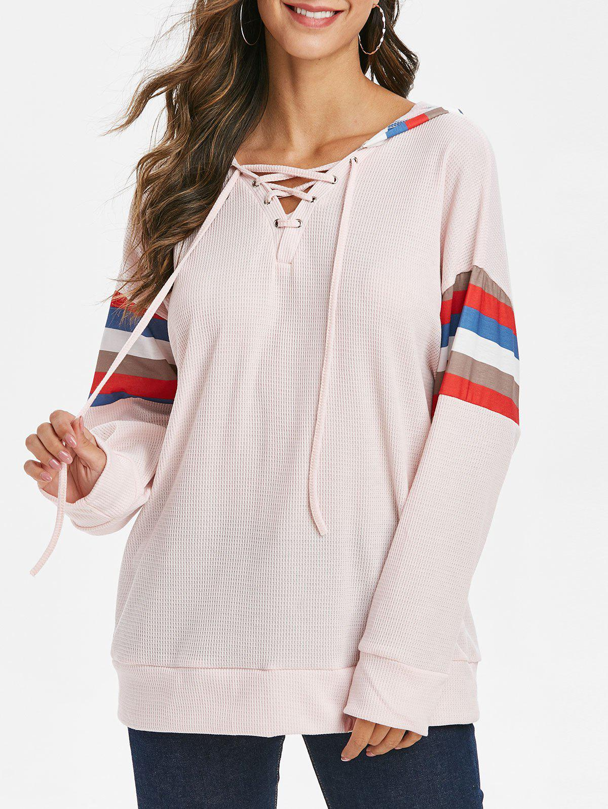 Hot Lace Up Striped Drop Shoulder Hoodie