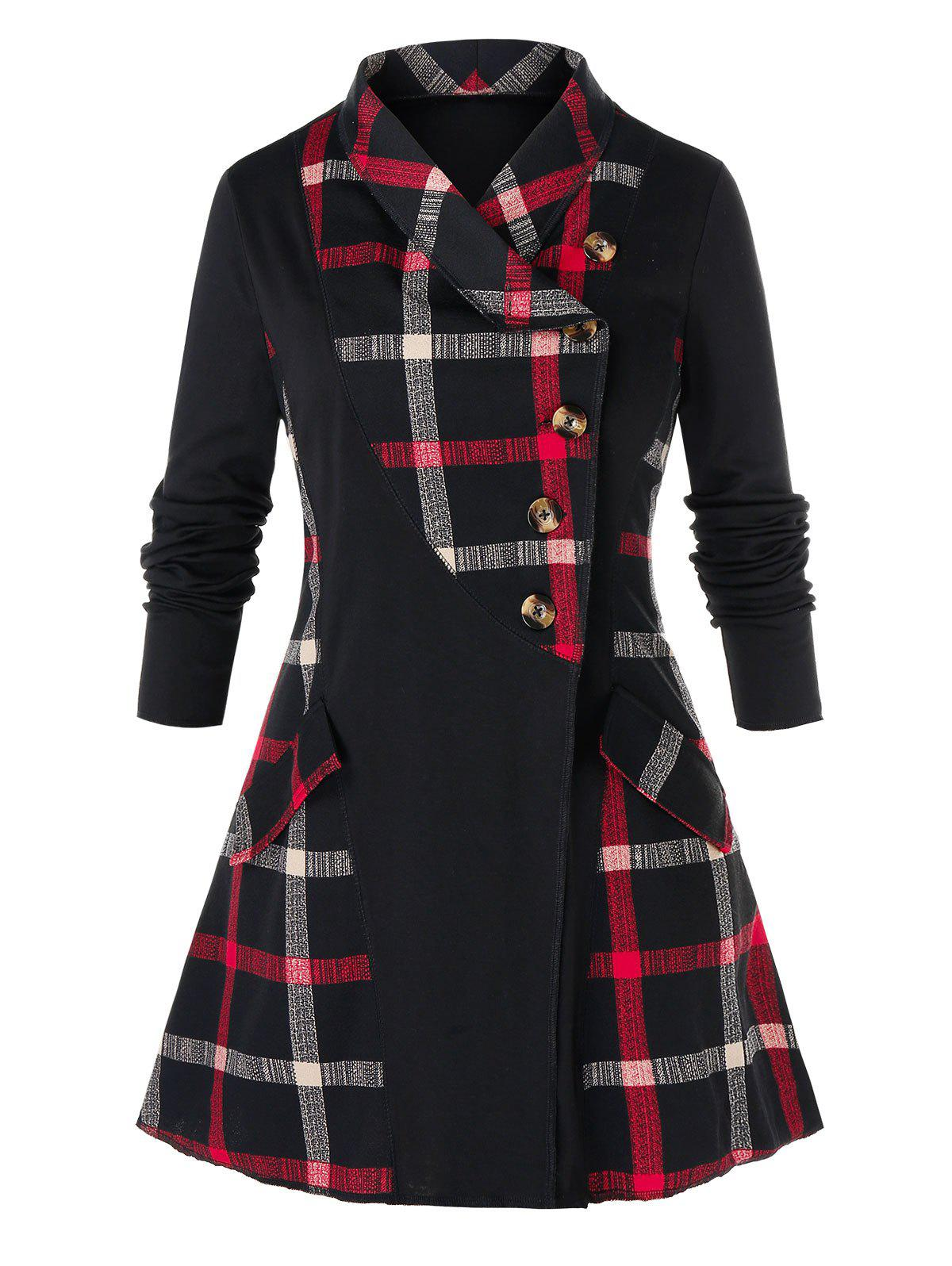 Plus Size Plaid Splicing Manteau boutonnage simple