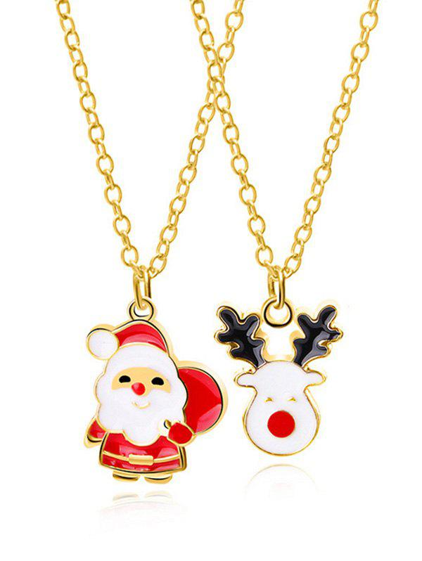 New 2Pcs Christmas Elk Santa Claus Necklace Set