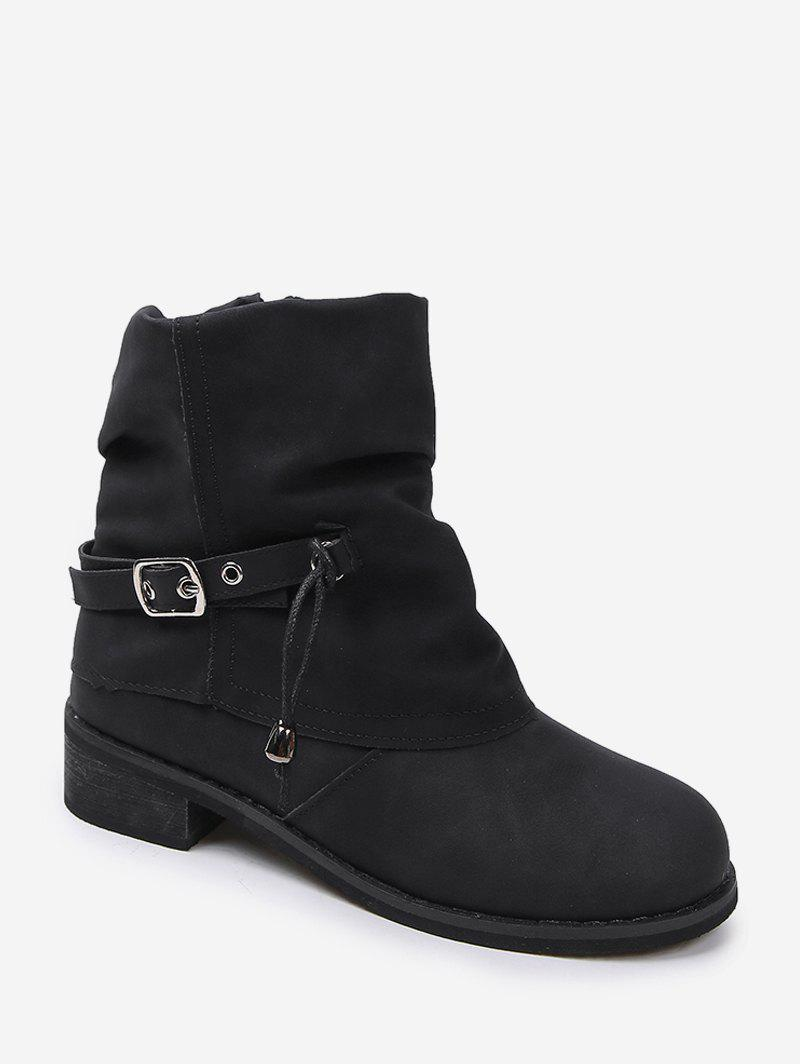 Latest Foldover Buckle Accent Chunky Heel Short Boots