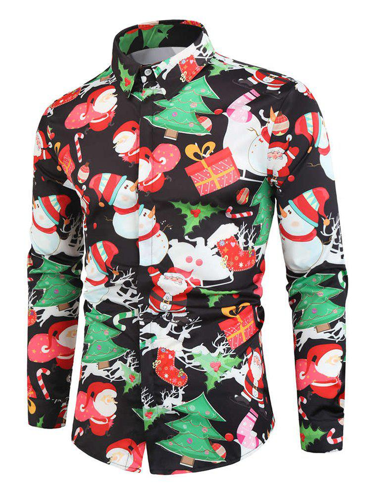 Best Santa Snowmen Christmas Tree Print Long Sleeve Shirt
