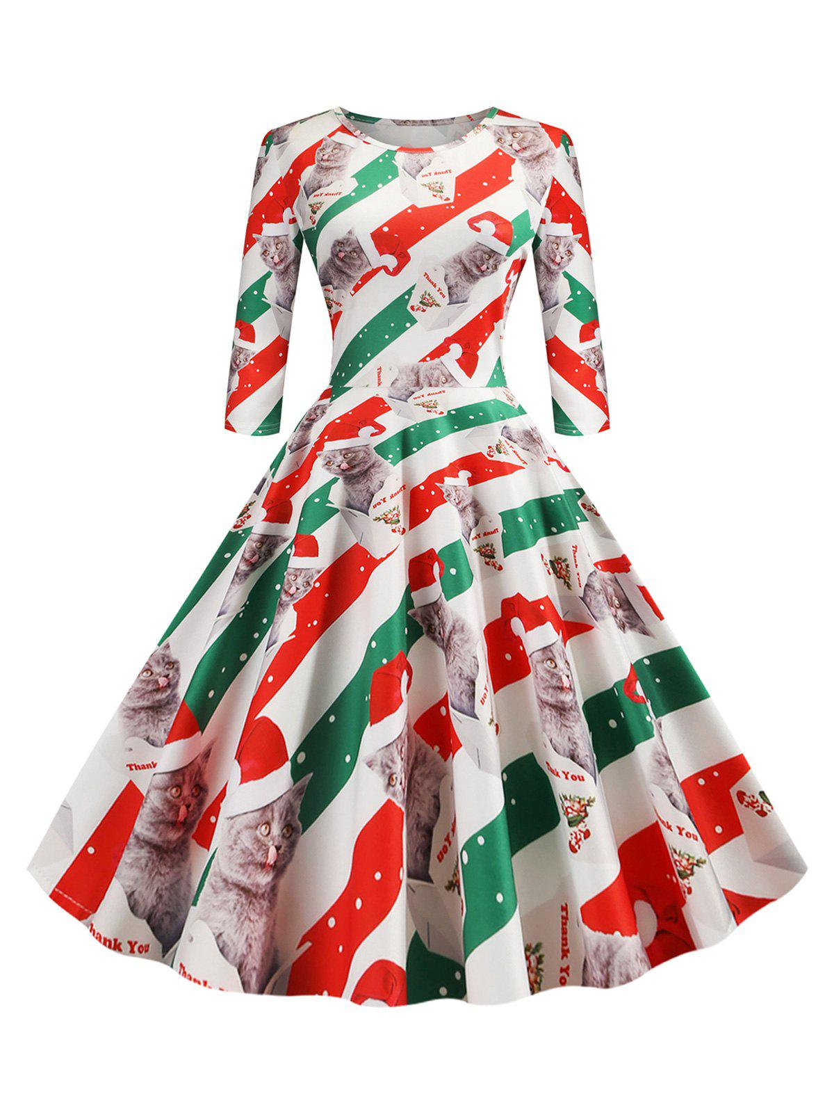 Chic Christmas Cat Striped A Line Dress