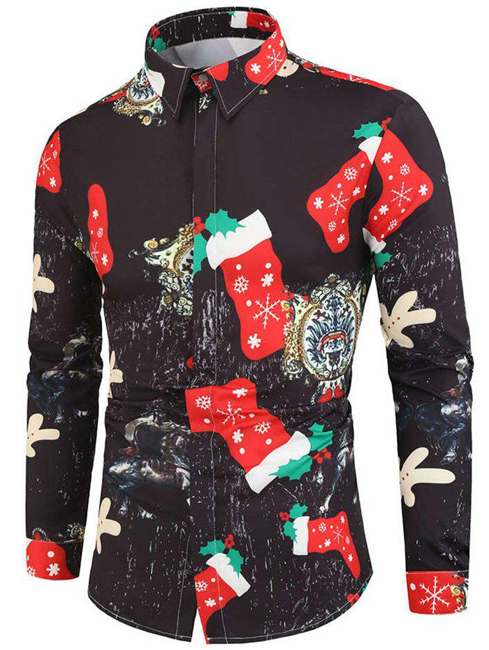 Buy Christmas Stocking Paper Character Print Button Shirt