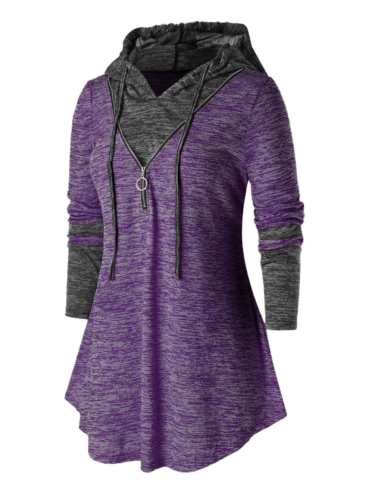 Affordable Plus Size Hooded Zipper Space Dye T Shirt