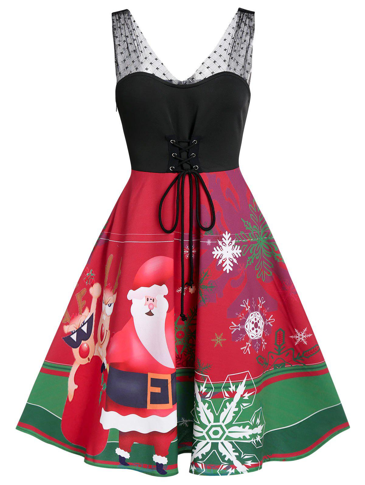Fancy Christmas Santa Claus Elk Print Lace-up Lace Insert Skater Dress