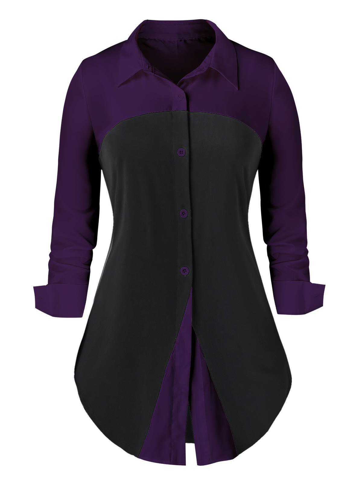 Chic Plus Size Two Tone Button Up Curved Work Shirt