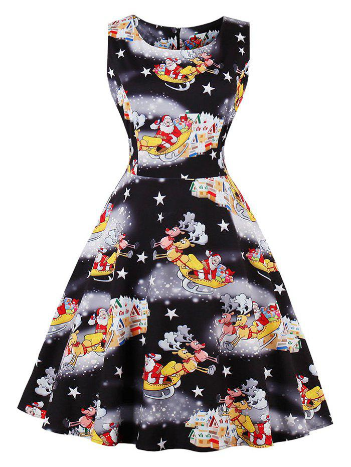Unique Santa Claus Star Print Christmas Sleeveless Dress