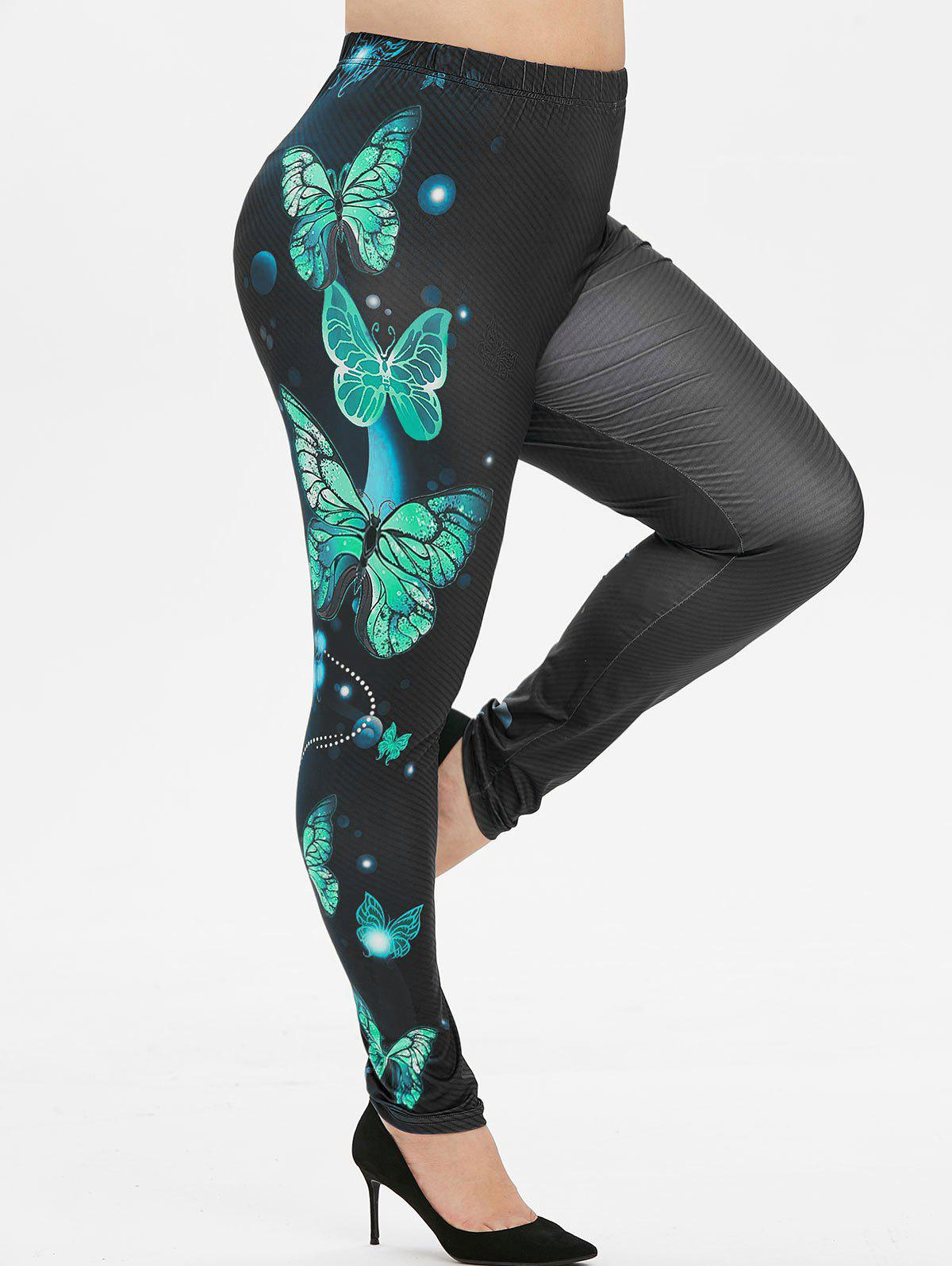 Latest Plus Size Butterfly Print Leggings