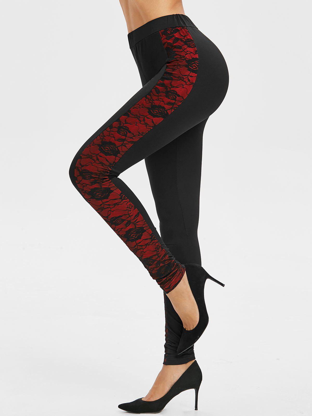 Hot Side Lace Overlay Colorblock Leggings