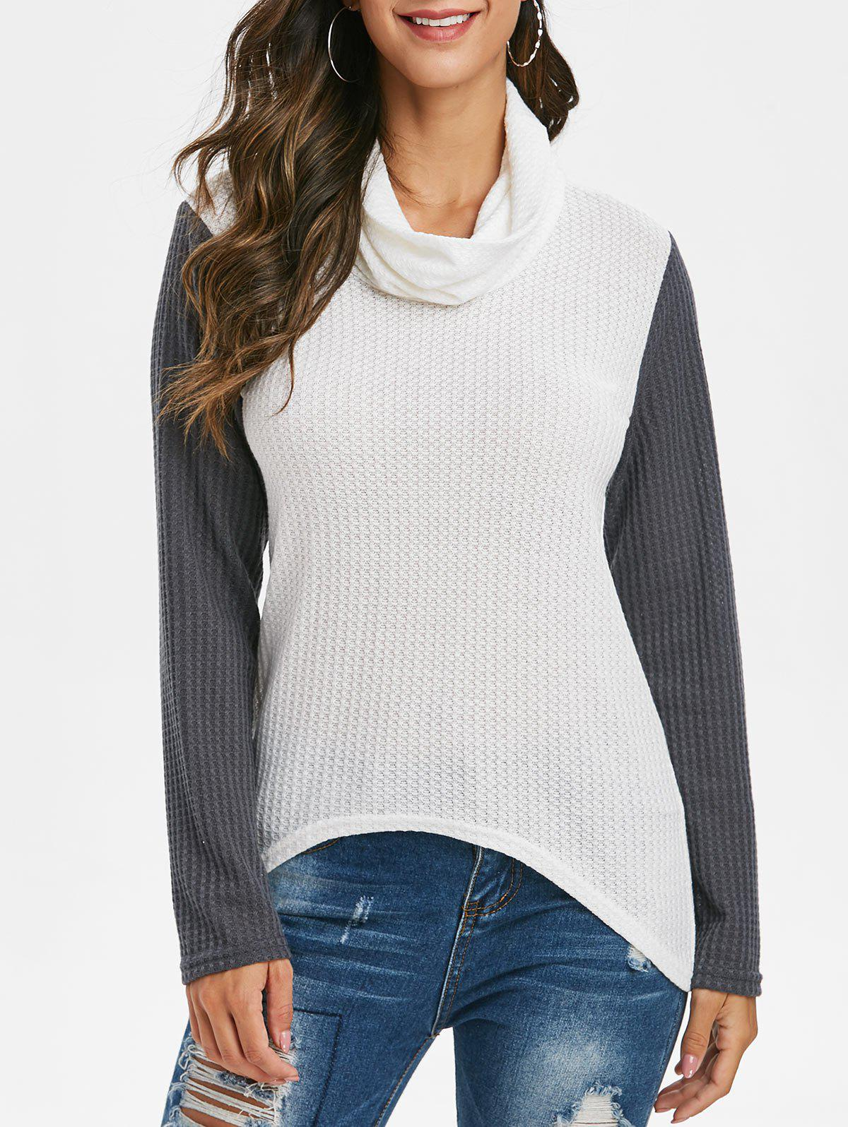 Online Cowl Neck Two Tone Honeycomb Knit Sweater