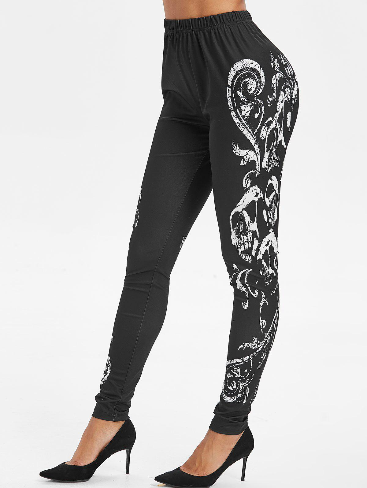 Hot Skull Print High Waist Leggings