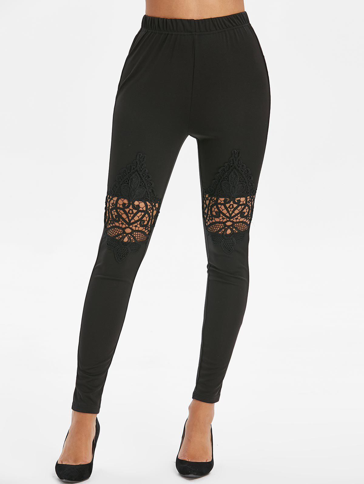 Fashion High Waist Lace Spliced Leggings