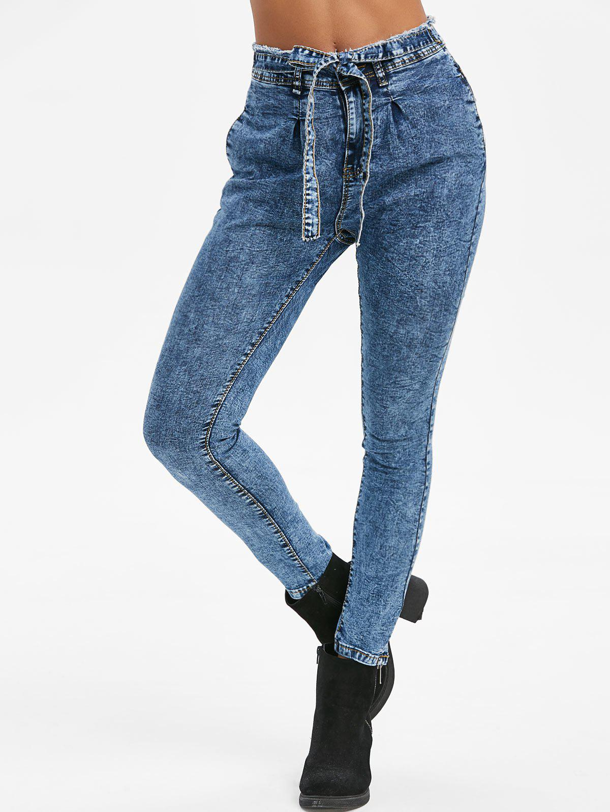 Discount Knotted Frayed Snow Wash Pockets Jeans
