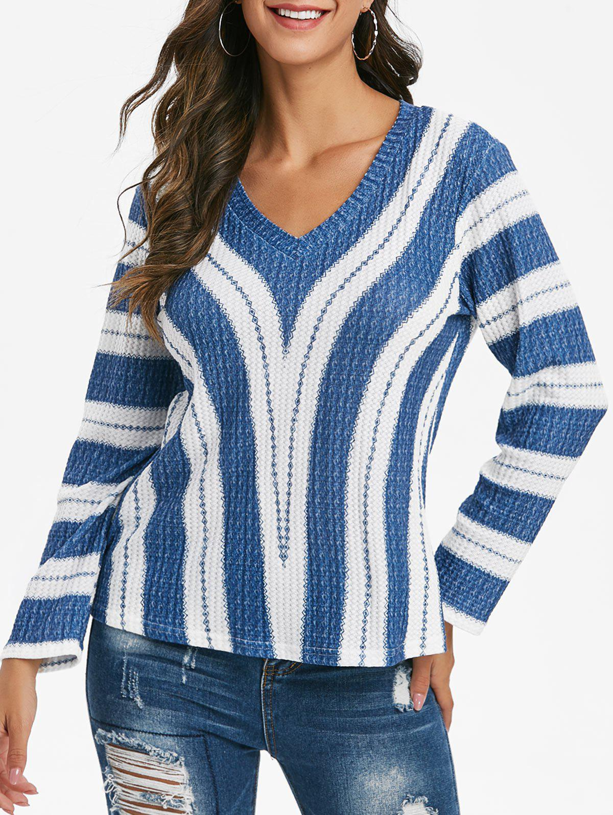 Trendy Striped V Neck Drop Shoulder Knitwear