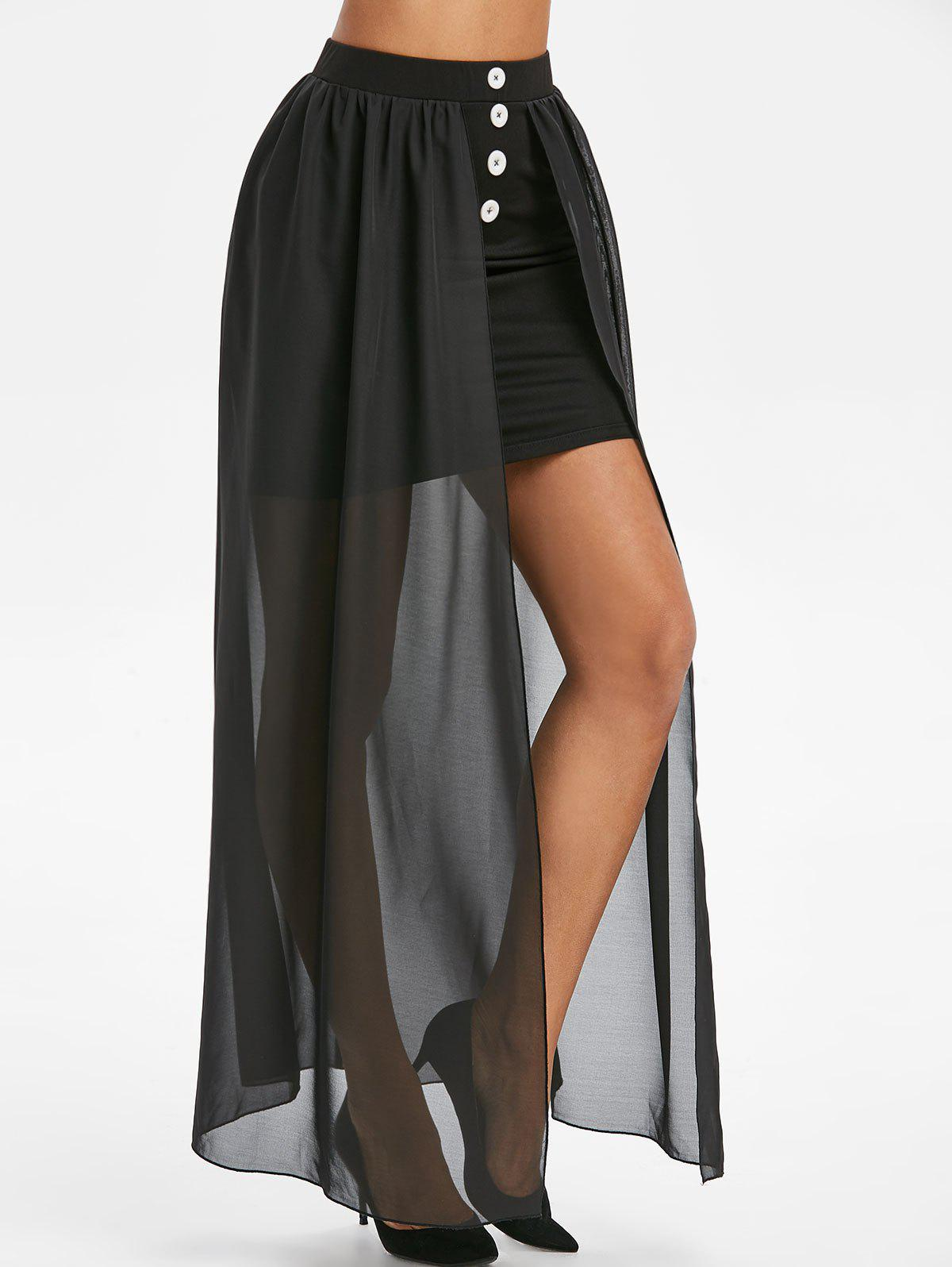 Outfit Buttons Overlay See Thru Maxi Skirt