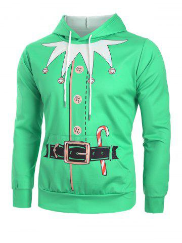 Christmas Bell Candy Faux Belt Print Drawstring Hoodie