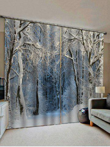 Snow Forest Pattern Window Curtains