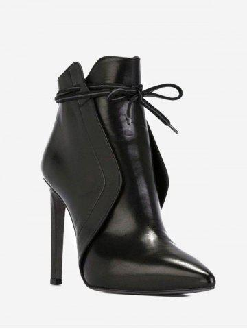 Front Tie High Heel Pointed Toe Boots