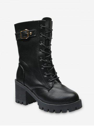 Buckle Accent Lace Up Mid Calf Boots