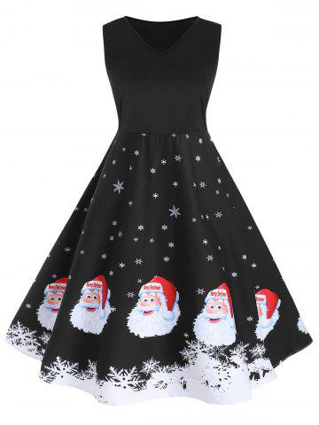 Christmas Santa Claus Snowflake A Line Tank Dress
