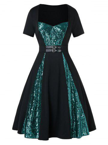 Plus Size Two Tone Sequined Buckle A Line Vintage Dress
