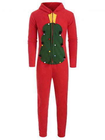 Christmas Zipper Design Hooded Overalls - RED - L